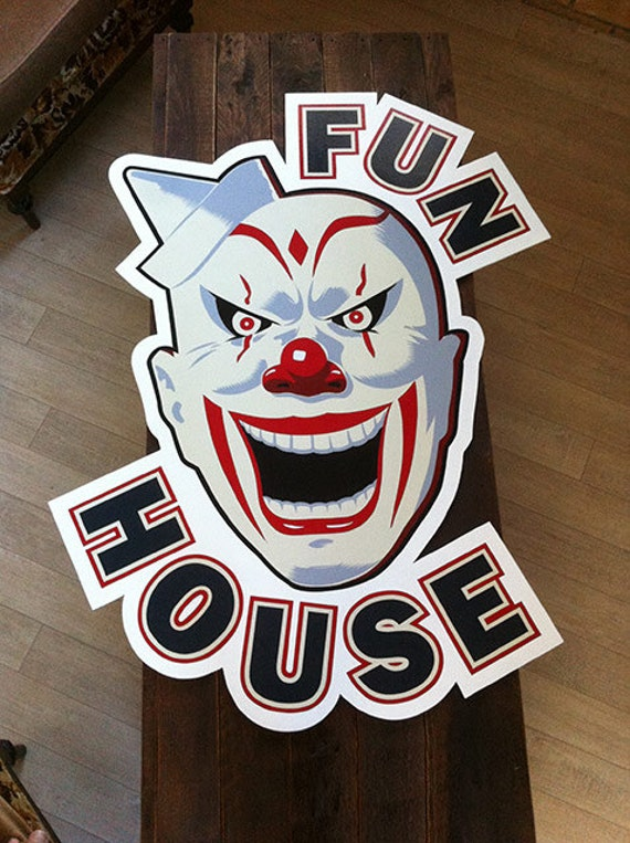 Hand-painted Scarey Clown Fun House Sign
