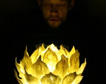 Hand felting wool night lamp Lotus