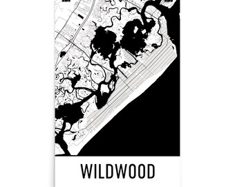 Wildwood Map, Wildwood Art, Wildwood Print, Wildwood NJ Poster, Wildwood Wall Art, Wildwood Gift, Map of Wildwood, Wildwood Poster, Decor