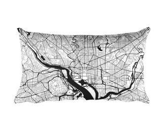 Washington DC Pillow, Washington Decor, Washington Throw Pillow, Washington Gift, Washington DC Map, Washington DC Art, District of Columbia