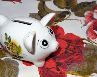 Piggy Bank, Childrens Savings, Piggy Box, Floral Ceramic Pig, Vintage Money Box, Children's Money Box. Retro Piggy Bank
