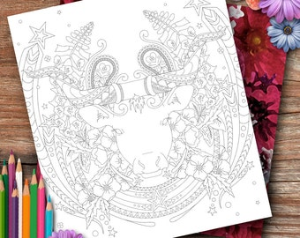 Taurus Flowers Colouring Page