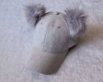 Mickey Fur Suede Hat in Grey