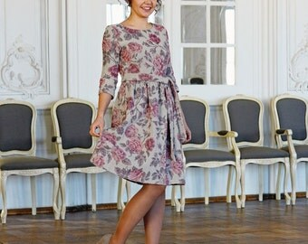 Linen Dress Linen Jacquard dress Beautiful dress for women Vintage dress Rose dress Midi dress Classic dress