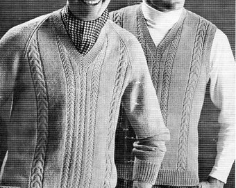 mens sweater & slipover knitting pattern pdf mens 4 ply cable jumper pullover v neck Vintage 60s 36-46 inch 4ply Instant download