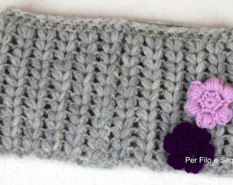 Puff puff stitch crochet cowl scarf and flowers-stitch