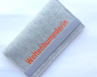 Reiseorganizer, travel case size M made of wool felt