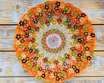 Plate, orange dish, orange plate, orange platter, orange ceramics, decorative plate, ceramics, handmade plate, gift idea, handmade pottery