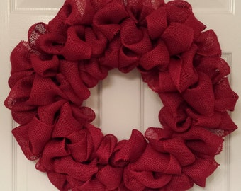 Solid Red Burlap Wreath