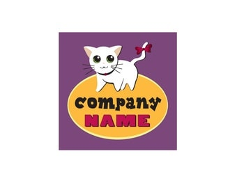 Pre-Made LOGO DESIGN - Customized with Your Name! - White Cat Logo