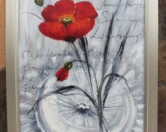 ORIGINAL poppies on black and white background!