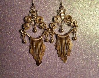 Vintage Silver Tone Chandelier Earrings