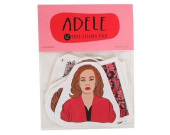 ADELE 12 pc sticker set, Adele sticker pack, Adele stickers, Adele 21, Adele 25, Hello it's me, celebrity stickers