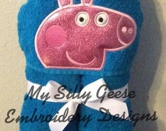 DIGITAL FILE 5x7 Puddle Pig Peeker hooded towel embroidery design hoodie towel topper bow holder