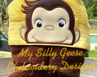 DIGITAL FILE 5x7 Curious Monkey Peeker hooded towel embroidery design hoodie towel topper bow holder