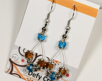 Blue and Gold Floating Crystal Earrings