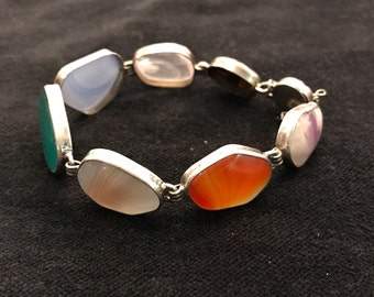 Bracelet in silver and semiprecious stones