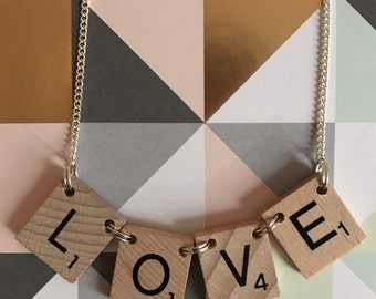 Scrabble Inspired LOVE Necklace