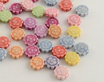 50 pc Mixed Color Flower Acrylic Beads 10x3mm