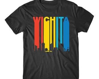 Retro 1970's Style Wichita Kansas Cityscape Downtown Skyline Shirt