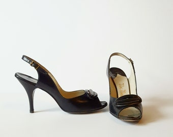 Vintage Leather Pumps | Mr. Neal Slingback Heels | 1950s Eveningwear | US 7 / UK 6 / EU 39