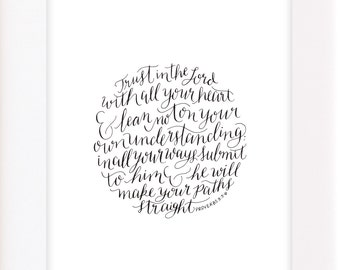 Proverbs 3:5-6 8x10 Calligraphy Print