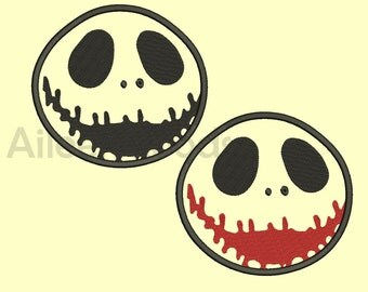 2 Style Nightmare Before Christmas Jack Skellington Applique Embroidery  design 10 Size INSTANT download machine embroidery