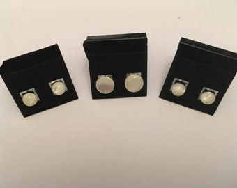 8mm Mother of Pearl Cabouchon Studs