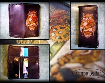 "leather wallet ""Steampunk owl"" (CLt5)"