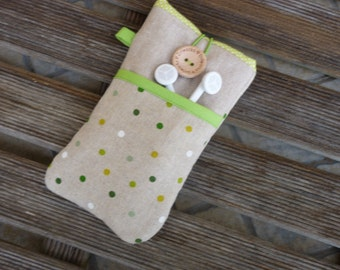 iPhone 7 Plus case, Dots, iPhone 7  Pouch, iPhone SE case, iPhone 6 Fabric Case, iPhone 5 cover, iPod Touch case, ipod, linen, padded