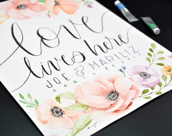 1st Anniversary - Custom ORIGINAL Watercolor Floral Quote Illustration Made to Order Art Paper Gift