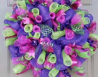 Bright colored Deco Mesh Wreath, Purple Wreath, Green Wreath, Hot Pink Wreath, Colorful Wreath, Spring Wreath, Front Door Wreath, Wreath