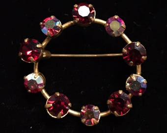 Amazing Austria Signed Brooch w Iridescent and Red Crystals