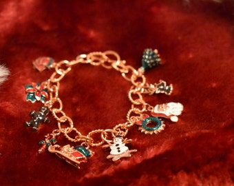Copper Christmas Charm Bracelet