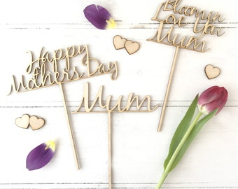 Personalised Mother's Day Wooden Flower Or Cake Topper