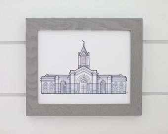 Fort Collins Colorado Temple Drawing, LDS Temple Print, Architectural Drawing, Grayscale