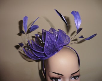 Purple Fascinator.Purple Hat.Wedding Hat.Ascot Race Hat.Purple Occasion Hat.Purple Wedding Hat