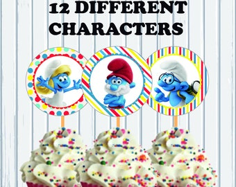 Smurfs Lost Village Printable Digital 12 Cupcake Toppers 12 Different Characters INSTANT DOWNLOAD