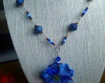 Blue Artisan Flower Necklace