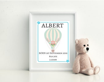 Hot Air Balloon Print, Baby Blue Baby Print, Baby Boy Nursery Print, Nursery Art, Nursery Decor, Personalised Baby Print, Baby Gift