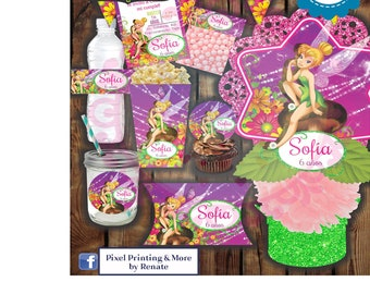 Personalized and Printable Tinkerbell Invitation Party Kit (Digital)
