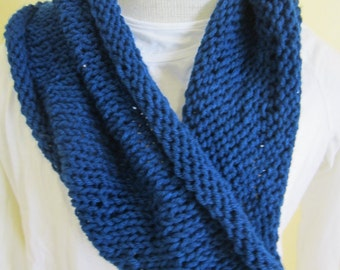 Knitted Blue Short Infinity Scarf
