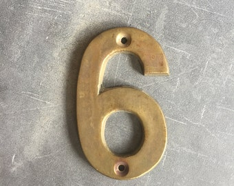 Cast Brass House Number 6