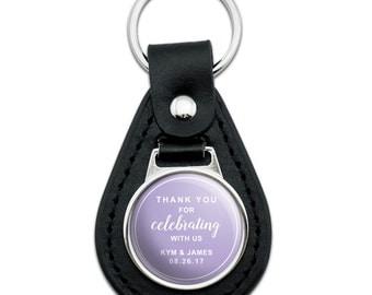 Purple Line Thank You Celebrating Us Personalized Black Leather Keychain