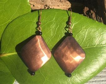 Copper Diamond Dangle Earrings, Bronze Earrings, Copper Earrings, Bronze Diamond Earrings, Costume Jewelry, Antiqued Copper