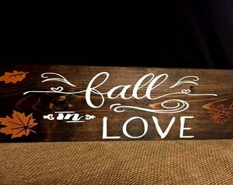 Rustic Fall Wedding, Fall In Love Sign, Fall Decor,  Autumn Sign, Fall Porch Decor, Fall Mantle