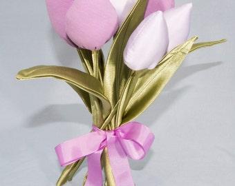 Handmade Cotton Fabric Tulip Bouquet