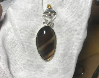 Handmade silver pendant with Montana agate, amethyst and citrine