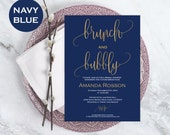 Brunch  Bubbly Bridal Shower Template  Printable Bridal shower Invitation  Downloadable wedding invitations  WDH0099