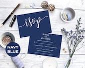 RSVP cards wedding - rsvp Card - Printable Response - Navy blue rsvp - Navy blue wedding - rsvp online  - Downloadable wedding #WDH0129